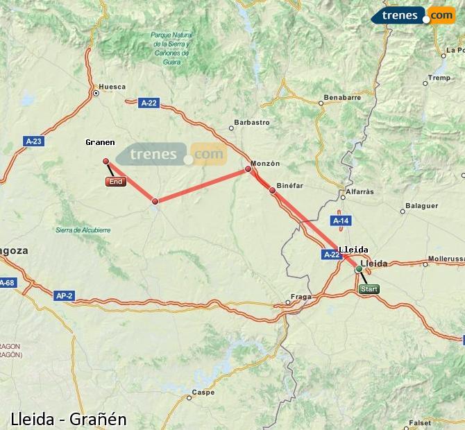 Karte vergrößern Züge Lleida Grañén