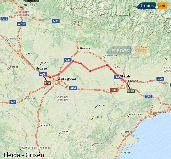 Ampliar mapa Comboios Lleida Grisén