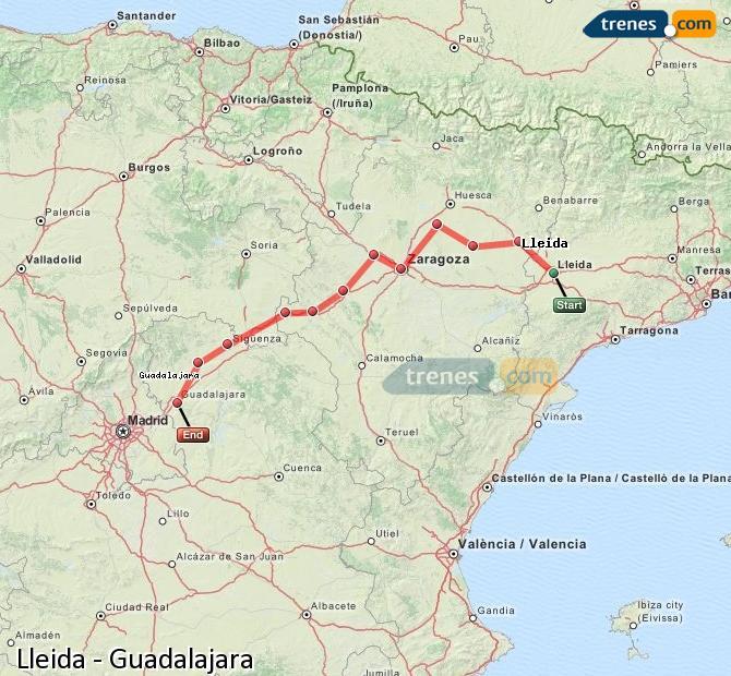 Enlarge map Trains Lleida to Guadalajara