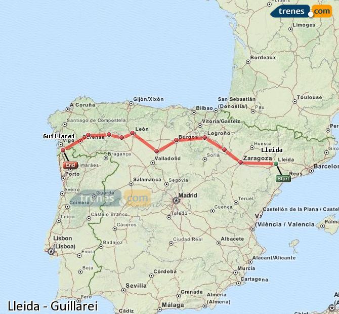 Ingrandisci la mappa Treni Lleida Guillarei