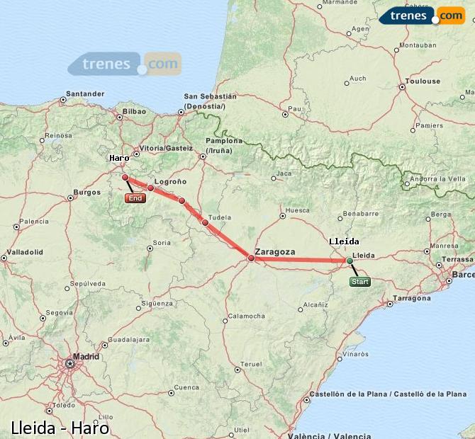 Karte vergrößern Züge Lleida Haro