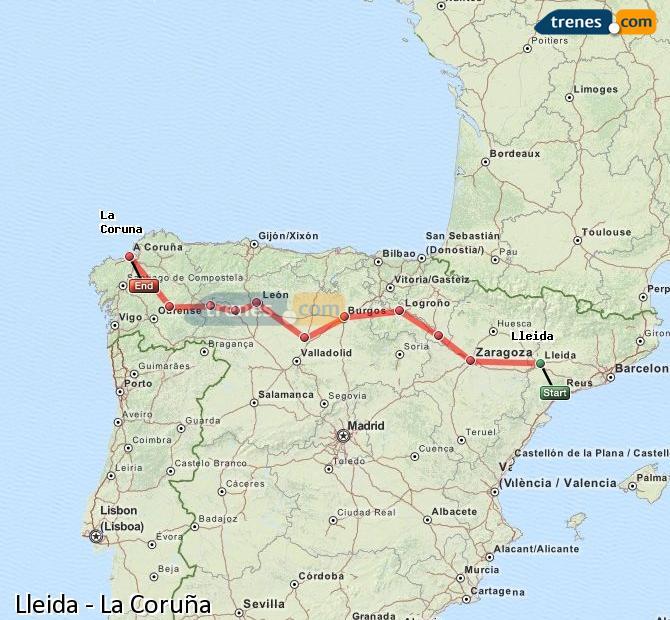 Agrandir la carte Trains Lleida La Coruña