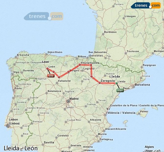 Ampliar mapa Comboios Lleida León
