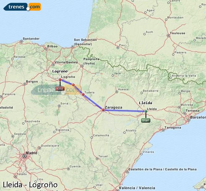 Ampliar mapa Trenes Lleida Logroño