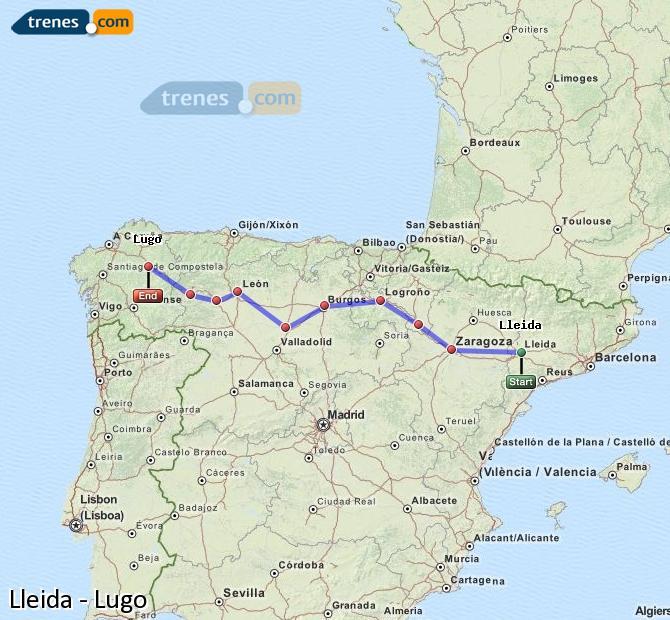 Agrandir la carte Trains Lleida Lugo
