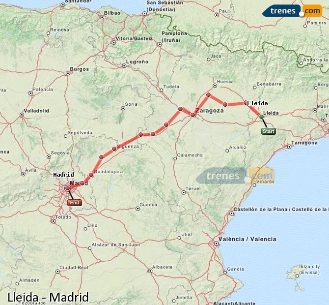 Enlarge map Trains Lleida to Madrid