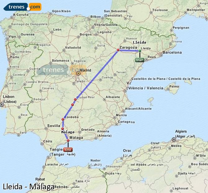 Enlarge map Trains Lleida to Malaga