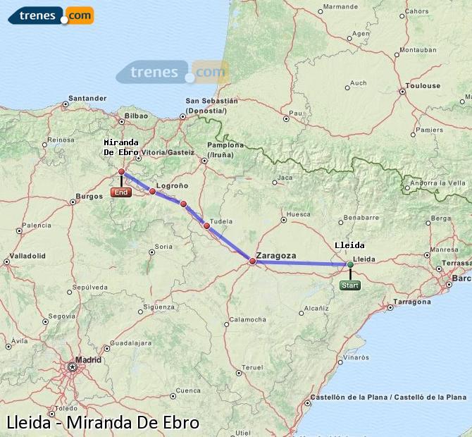 Ingrandisci la mappa Treni Lleida Miranda De Ebro
