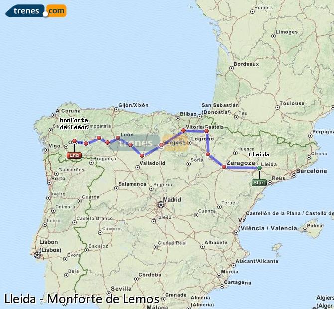 Ampliar mapa Comboios Lleida Monforte de Lemos
