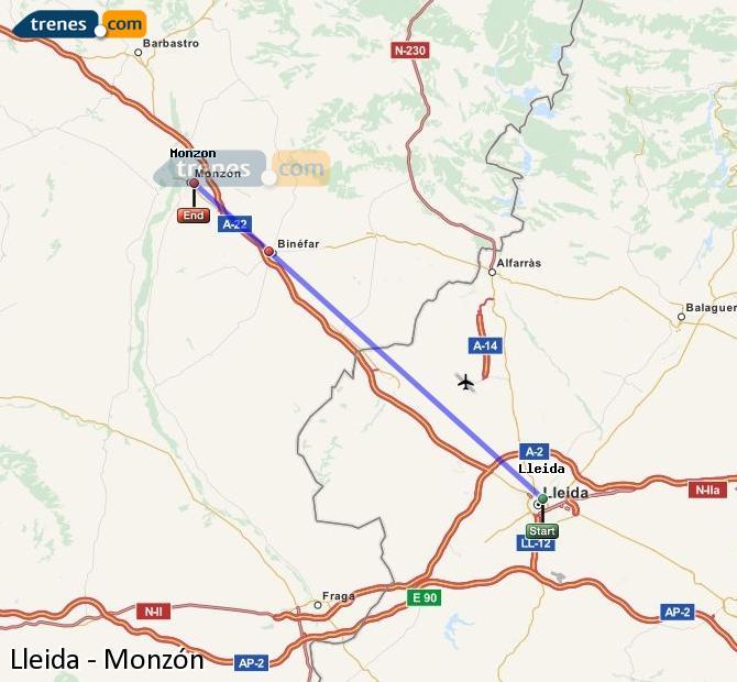 Karte vergrößern Züge Lleida Monzón