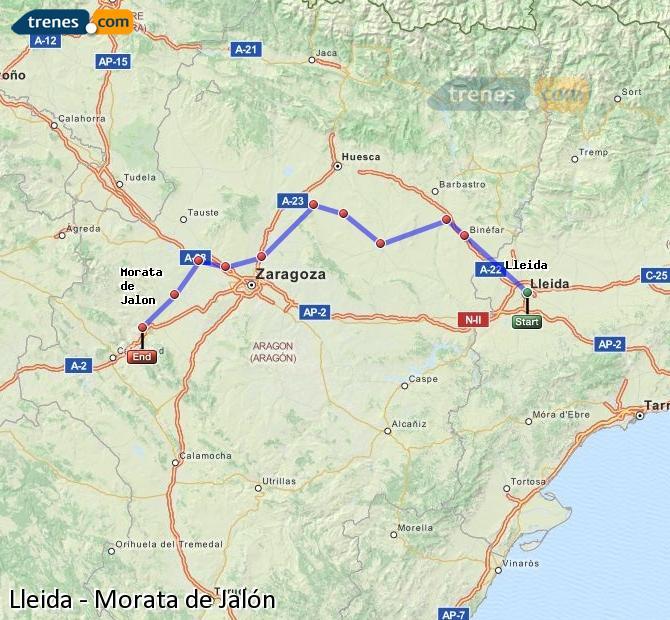 Ampliar mapa Comboios Lleida Morata de Jalón