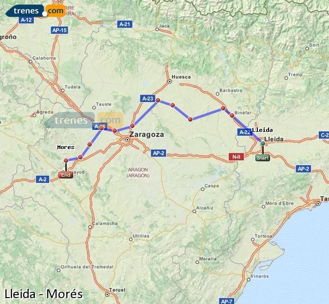 Enlarge map Trains Lleida to Morés