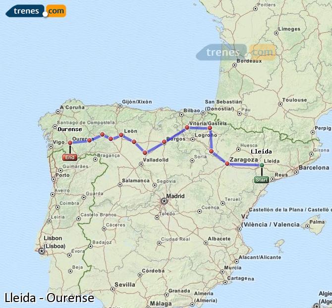 Ampliar mapa Comboios Lleida Ourense