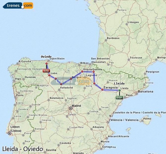 Karte vergrößern Züge Lleida Oviedo