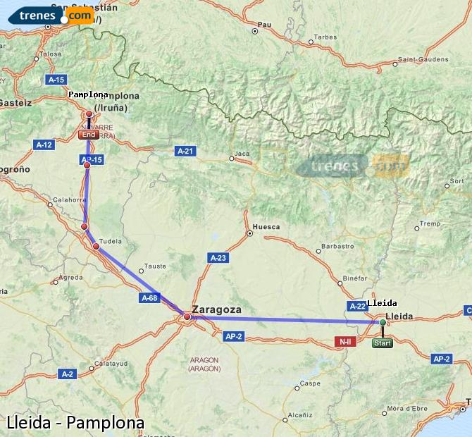 Enlarge map Trains Lleida to Pamplona