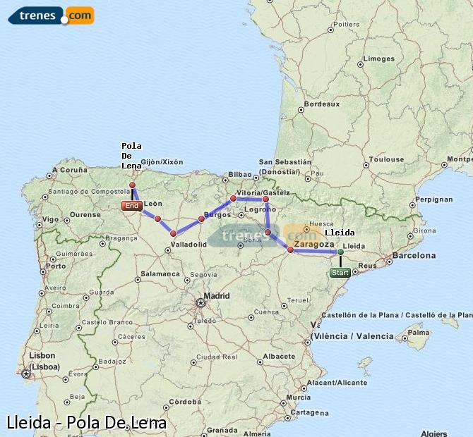 Ingrandisci la mappa Treni Lleida Pola De Lena