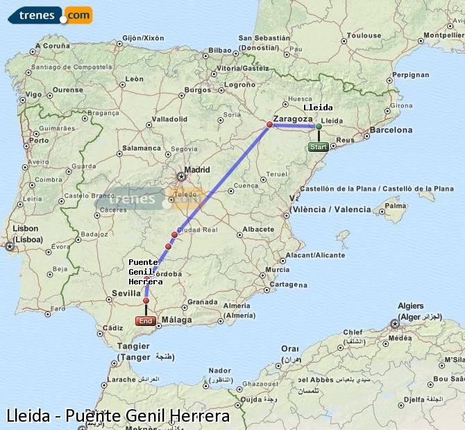 Enlarge map Trains Lleida to Bridge Genil Herrera