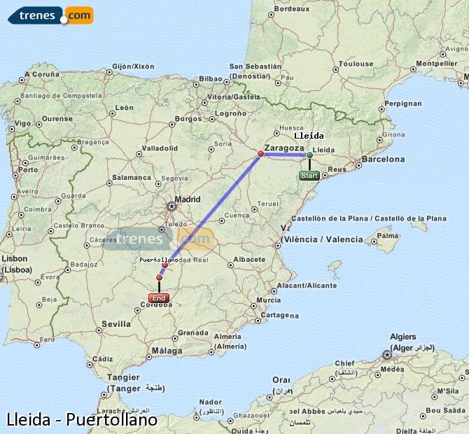 Ampliar mapa Comboios Lleida Puertollano