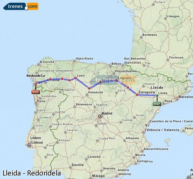 Ampliar mapa Comboios Lleida Redondela
