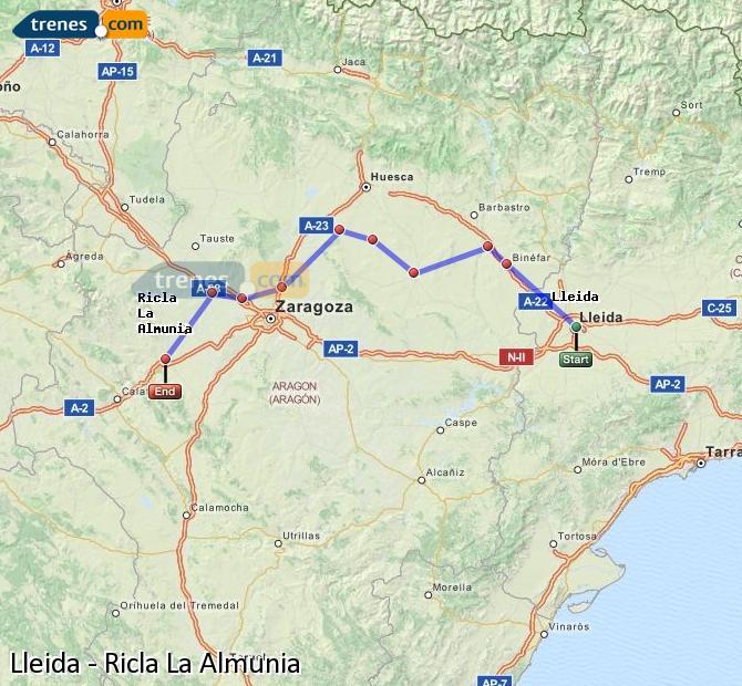 Ampliar mapa Comboios Lleida Ricla La Almunia