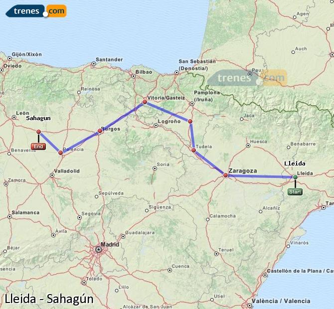 Ingrandisci la mappa Treni Lleida Sahagún