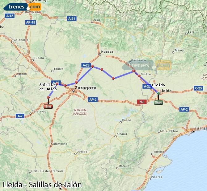 Ampliar mapa Comboios Lleida Salillas de Jalón