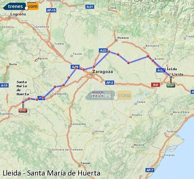 Ampliar mapa Comboios Lleida Santa María de Huerta