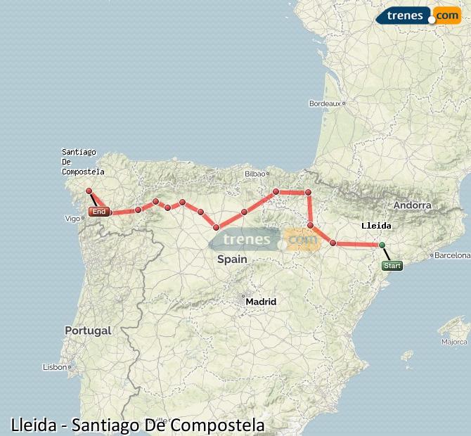 Karte vergrößern Züge Lleida Santiago De Compostela