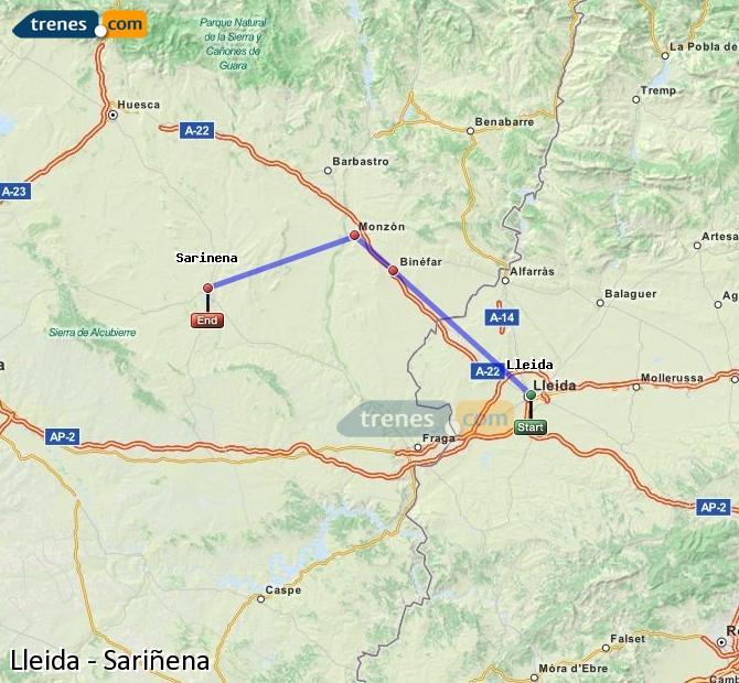 Ampliar mapa Trenes Lleida Sariñena