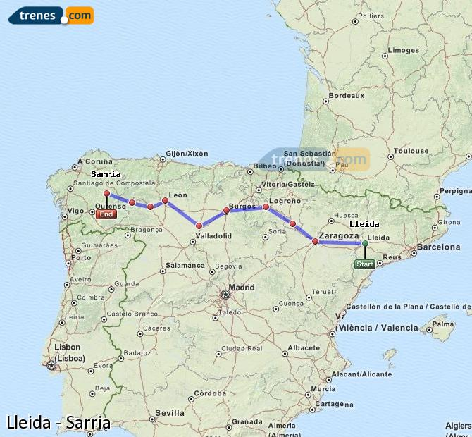 Enlarge map Trains Lleida to Sarria