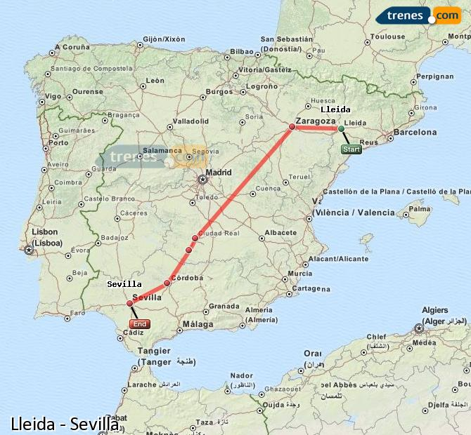 Enlarge map Trains Lleida to Seville