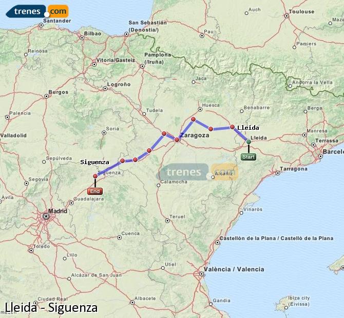 Karte vergrößern Züge Lleida Siguenza