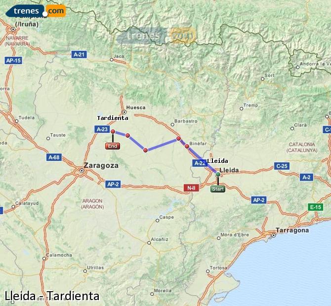 Karte vergrößern Züge Lleida Tardienta