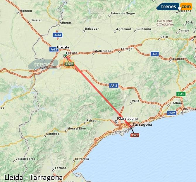 Enlarge map Trains Lleida to Tarragona