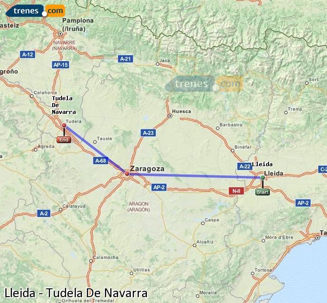 Ampliar mapa Comboios Lleida Tudela De Navarra
