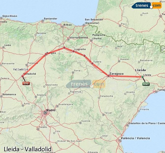 Karte vergrößern Züge Lleida Valladolid