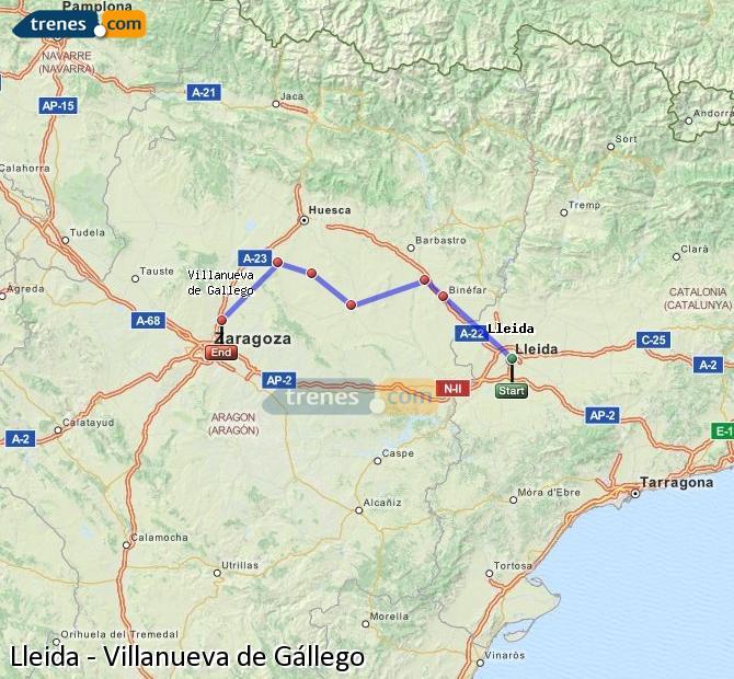 Agrandir la carte Trains Lleida Villanueva de Gállego