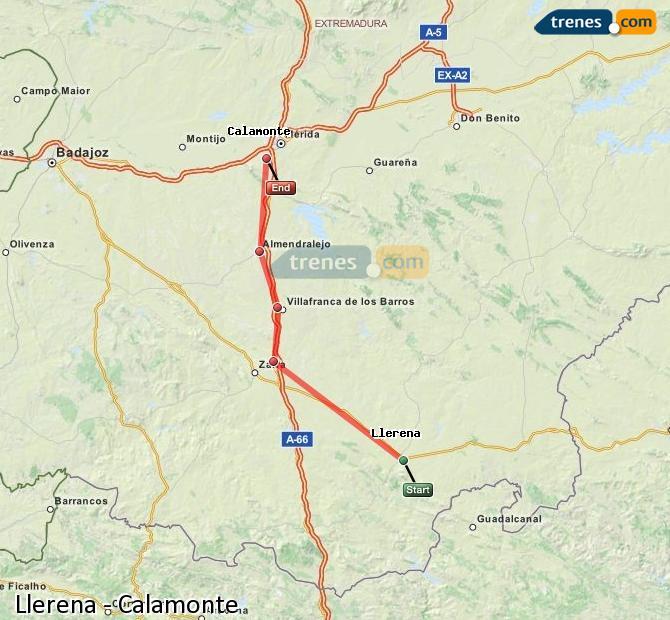 Karte vergrößern Züge Llerena Calamonte