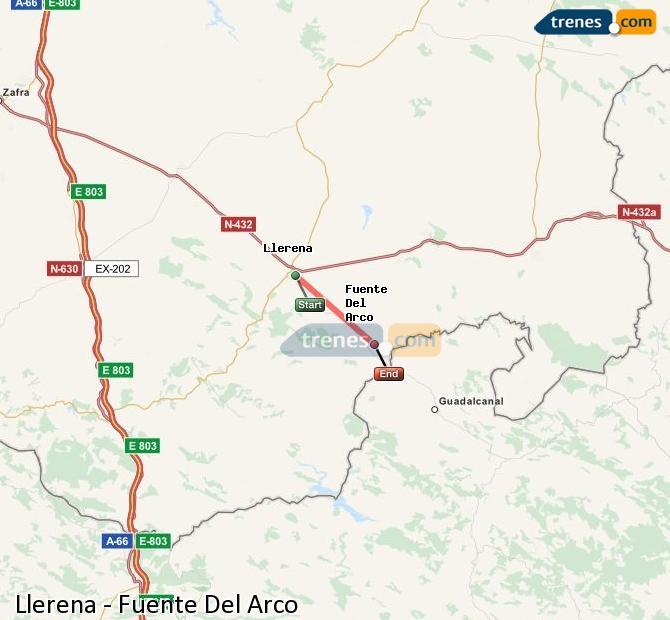 Enlarge map Trains Llerena to Fuente Del Arco