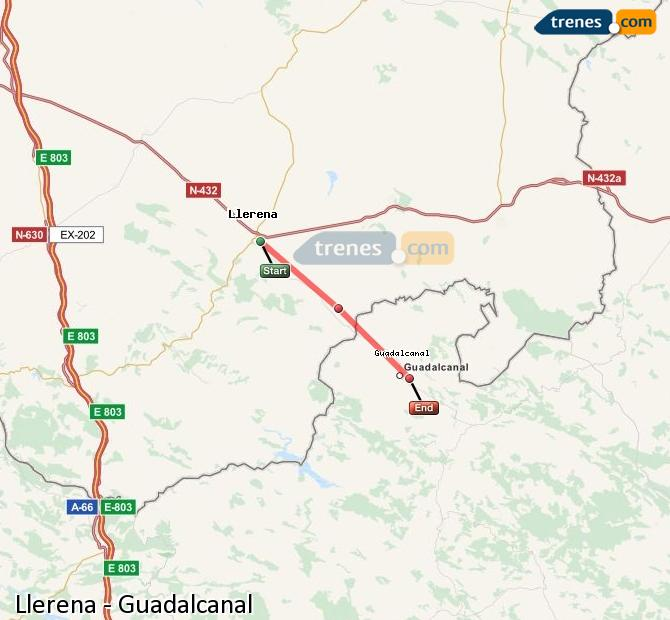 Enlarge map Trains Llerena to Guadalcanal