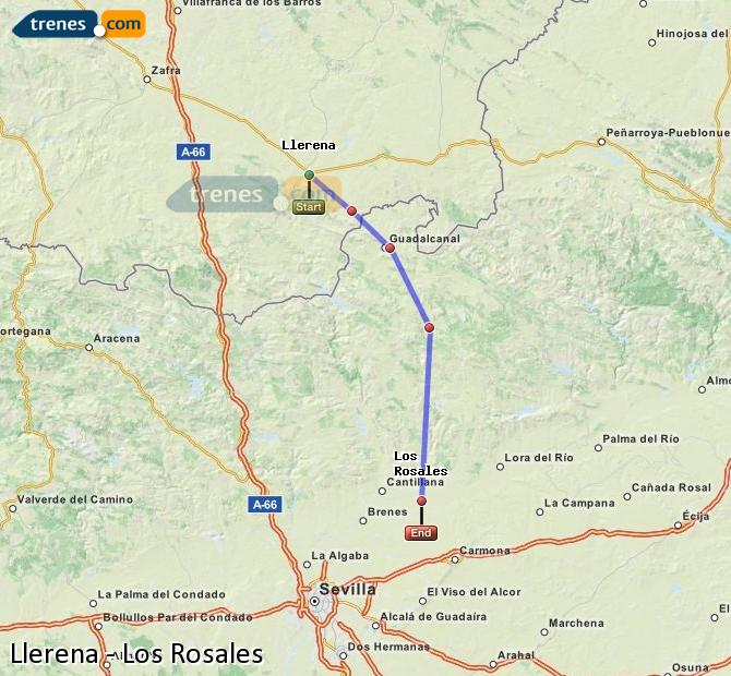Enlarge map Trains Llerena to Los Rosales