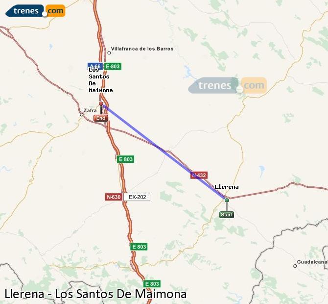 Karte vergrößern Züge Llerena Los Santos De Maimona