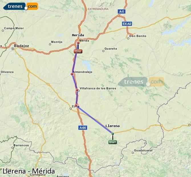 Ampliar mapa Trenes Llerena Mérida