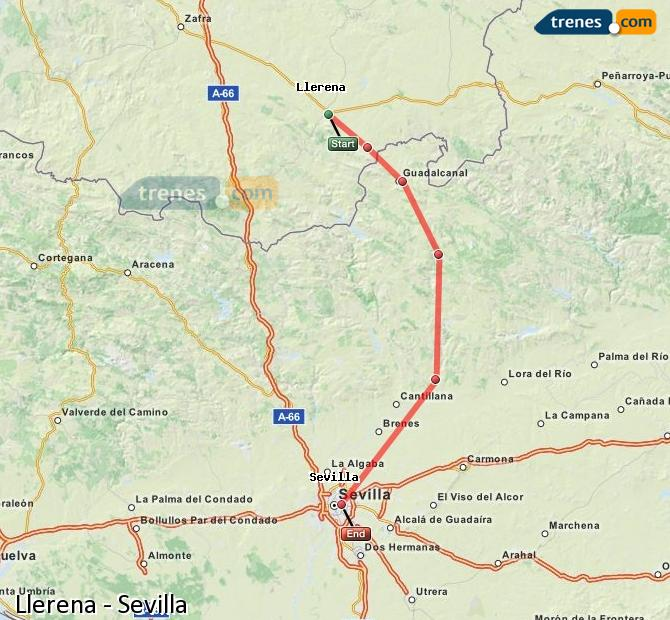 Karte vergrößern Züge Llerena Sevilla