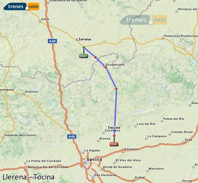 Enlarge map Trains Llerena to Tocina