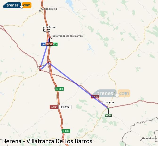 Enlarge map Trains Llerena to Villafranca De Los Barros