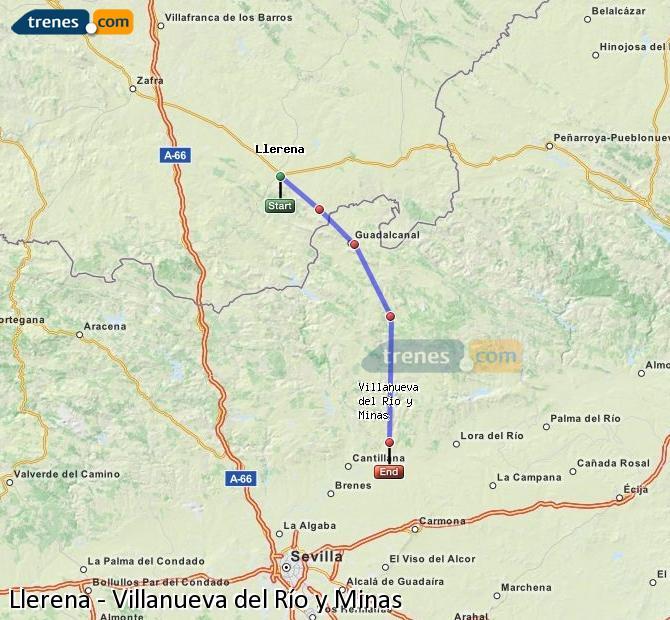 Enlarge map Trains Llerena to Villanueva del Río y Minas