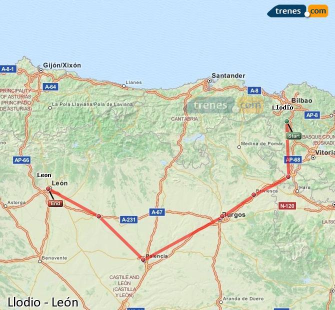 Karte vergrößern Züge Llodio León