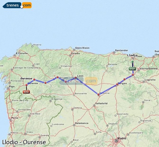 Ingrandisci la mappa Treni Llodio Ourense