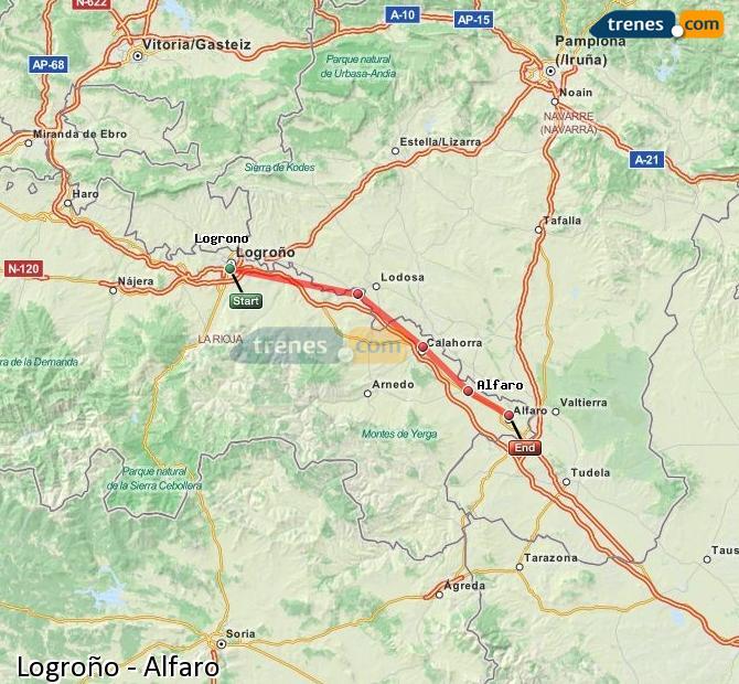 Agrandir la carte Trains Logroño Alfaro